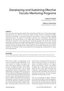 Developing and Sustaining Effective Faculty Mentoring Programs