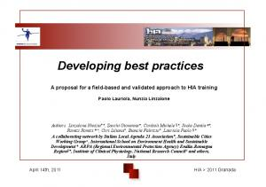 Developing best practices