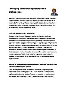 Developing careers for regulatory affairs professionals
