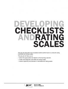 DEVELOPING CHECKLISTS ANDRATING SCALES