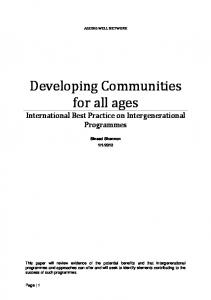 Developing Communities for all ages International Best Practice on Intergenerational Programmes