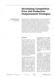 Developing Competitive Price and Production Postponement Strategies