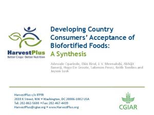 Developing Country Consumers Acceptance of Biofortified Foods: A Synthesis