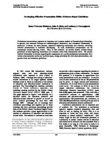 Developing Effective Presentation Skills: Evidence-Based Guidelines