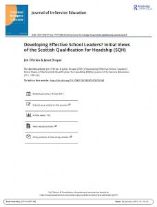 Developing Effective School Leaders? Initial Views of the Scottish Qualification for Headship (SQH)