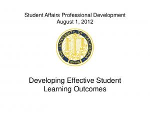 Developing Effective Student Learning Outcomes