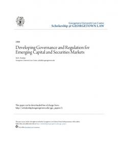 Developing Governance and Regulation for Emerging Capital and Securities Markets