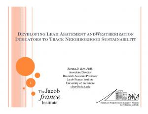 DEVELOPING LEAD ABATEMENT ANDWEATHERIZATION INDICATORS TO TRACK NEIGHBORHOOD SUSTAINABILITY