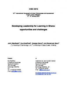 Developing Leadership for Learning in Ghana: opportunities and challenges