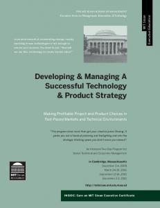Developing & Managing A Successful Technology & Product Strategy