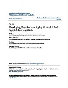 Developing Organizational Agility Through It And Supply Chain Capability