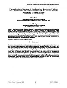 Developing Patient Monitoring System Using Android Technology