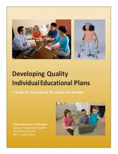 Developing Quality Individual Educational Plans