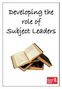 Developing the role of Subject Leaders