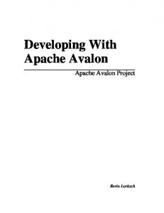 Developing With Apache Avalon
