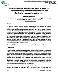 Development and Validation of Scales to Measure Capacity Building, Economic Empowerment, and Barriers to Economic Empowerment