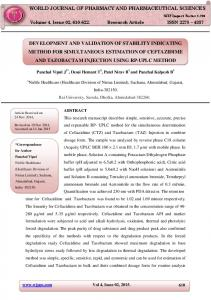 DEVELOPMENT AND VALIDATION OF STABILITY INDICATING METHOD FOR SIMULTANEOUS ESTIMATION OF CEFTAZIDIME AND TAZOBACTAM INJECTION USING RP-UPLC METHOD