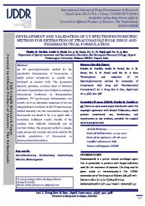 DEVELOPMENT AND VALIDATION OF UV SPECTROPHOTOMETRIC METHOD FOR ESTIMATION OF ITRACONAZOLE BULK DRUG AND PHARMACEUTICAL FORMULATION