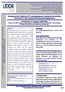 Development and Validation of UV spectrophotometric method for the estimation of Curcumin in Bulk Drug and Pharmaceutical Dosage Forms