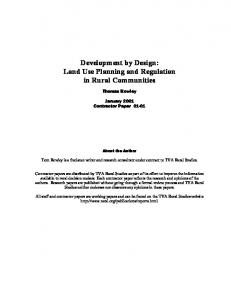 Development by Design: Land Use Planning and Regulation in Rural Communities