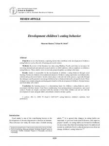 Development children s eating behavior