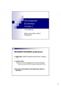 Development Economics Lecture 1