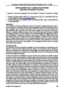 DEVELOPMENT OF A LASER RANGE FINDER FOR THE ANTARCTIC PLATEAU