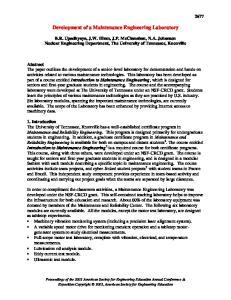 Development of a Maintenance Engineering Laboratory