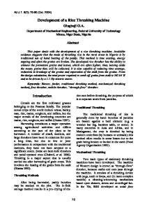 Development of a Rice Threshing Machine