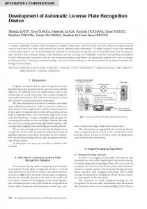 Development of Automatic License Plate Recognition Device