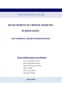 DEVELOPMENT OF CHINESE MEDICINE IN HONG KONG