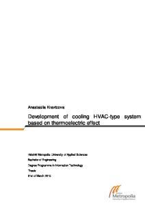 Development of cooling HVAC-type system based on thermoelectric effect. Anastasiia Kravtcova