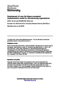 Development of Lean Six-Sigma conceptual implementation model for manufacturing organisations