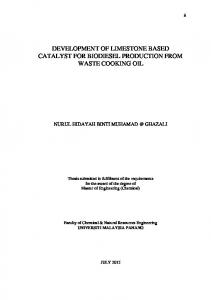 DEVELOPMENT OF LIMESTONE BASED CATALYST FOR BIODIESEL PRODUCTION FROM WASTE COOKING OIL