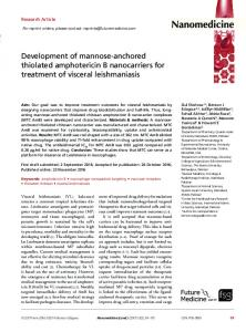 Development of mannose-anchored thiolated amphotericin B nanocarriers for treatment of visceral leishmaniasis