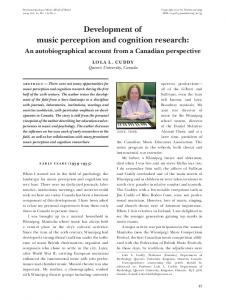 Development of music perception and cognition research: