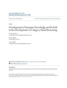 Development of Semantic Knowledge and Its Role in the Development of Category-Based Reasoning