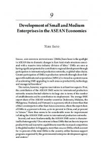 Development of Small and Medium Enterprises in the ASEAN Economies