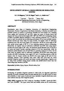 DEVELOPMENT OF SMALL BOOM SPRINKLER IRRIGATION SYSTEM