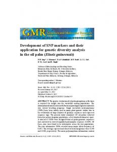 Development of SNP markers and their application for genetic diversity analysis in the oil palm (Elaeis guineensis)