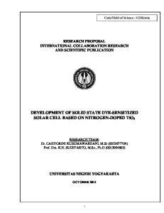 DEVELOPMENT OF SOLID STATE DYE-SENSITIZED SOLAR CELL BASED ON NITROGEN-DOPED TiO 2