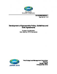 Development of Sponsorship Policy, Guidelines and Draft Agreements