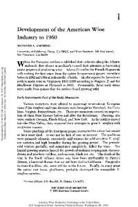 Development of the American Wine