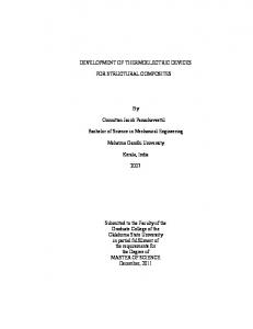 DEVELOPMENT OF THERMOELECTRIC DEVICES FOR STRUCTURAL COMPOSITES. Oonnittan Jacob Panachaveettil. Mahatma Gandhi University
