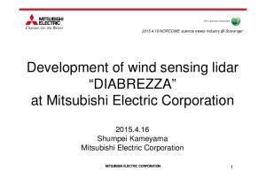 Development of wind sensing lidar DIABREZZA at Mitsubishi Electric Corporation