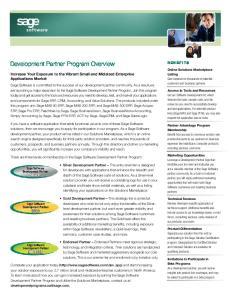 Development Partner Program Overview