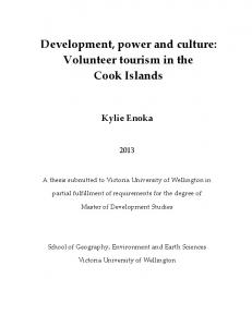 Development, power and culture: Volunteer tourism in the Cook Islands