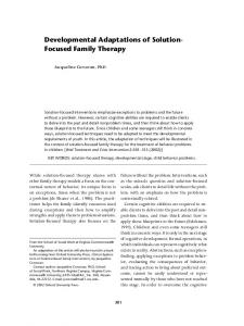 Developmental Adaptations of Solution- Focused Family Therapy