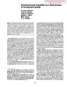 Developmental Instability as a Bioindicator of Ecosystem Health
