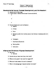 Developmental Issues, Prenatal Development, and the Newborn